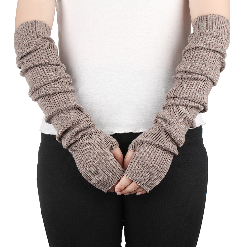 Autumn Winter Women Wool Arm Warmers Fashion Knitted Long Gloves Solid Color Fingerless Hand Warmer For Lady Elbow Mittens