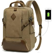 Canvas Laptop Backpacks for Men Vintage Water-Resistant 15.6 inch Casual Rucksack with USB Charge Port and Women