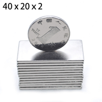 200 pcs. 40 mm x 20 mm x 2 mm strong, powerful block square magnet Craft Rare earth model 40 * 20 * 2 Permanent magnet Neodymium