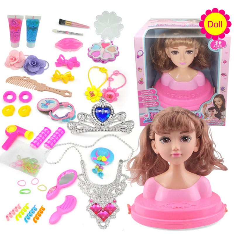 Kids Makeup Toys Half Body Makeup Hairstyle Doll Head Pretend Toy Necklace Cosmetics Kit Princess Make Up Toys Play Toys Girls