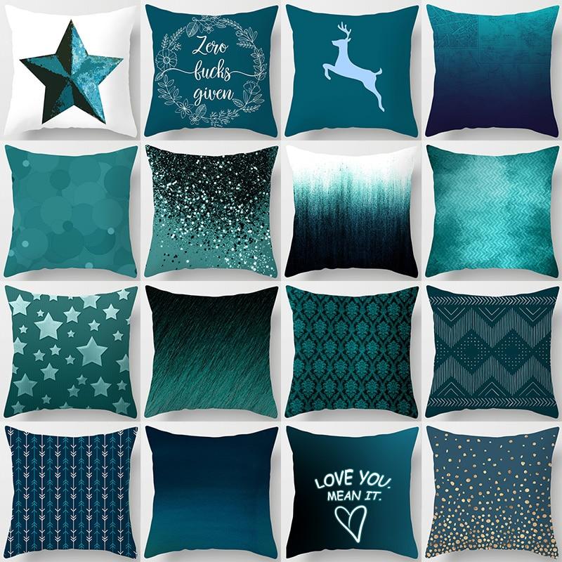 45 45cm Teal Blue Cushion Cover Polyester Peachskin Geometric Pillow Case Decorative Pillows Living Rome Throw