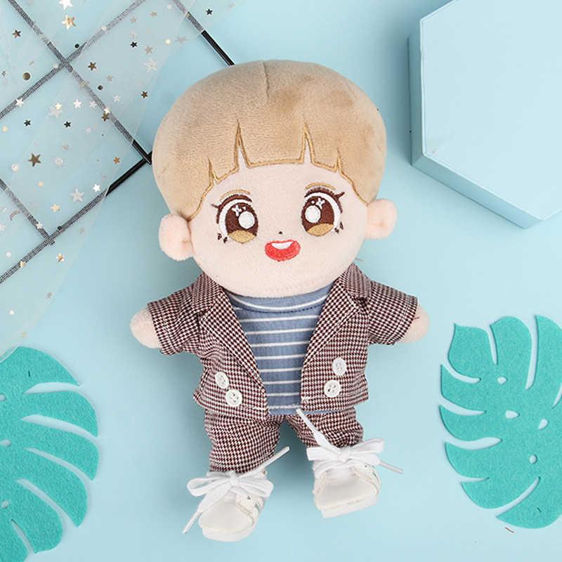 무료 배송 20cm 인형 의류 코트 바지 2 개/대/세트 비즈니스 정장 KPOP EXO ChanYeol 봉제 인형 장난감 복장 아이돌 인형 액세서리