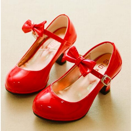 Children Leather Shoes Spring Fall New Arrive Girls Princess Shoes Fashion High Heels Shoes Comfort Mid Heel Dance Single Pumps