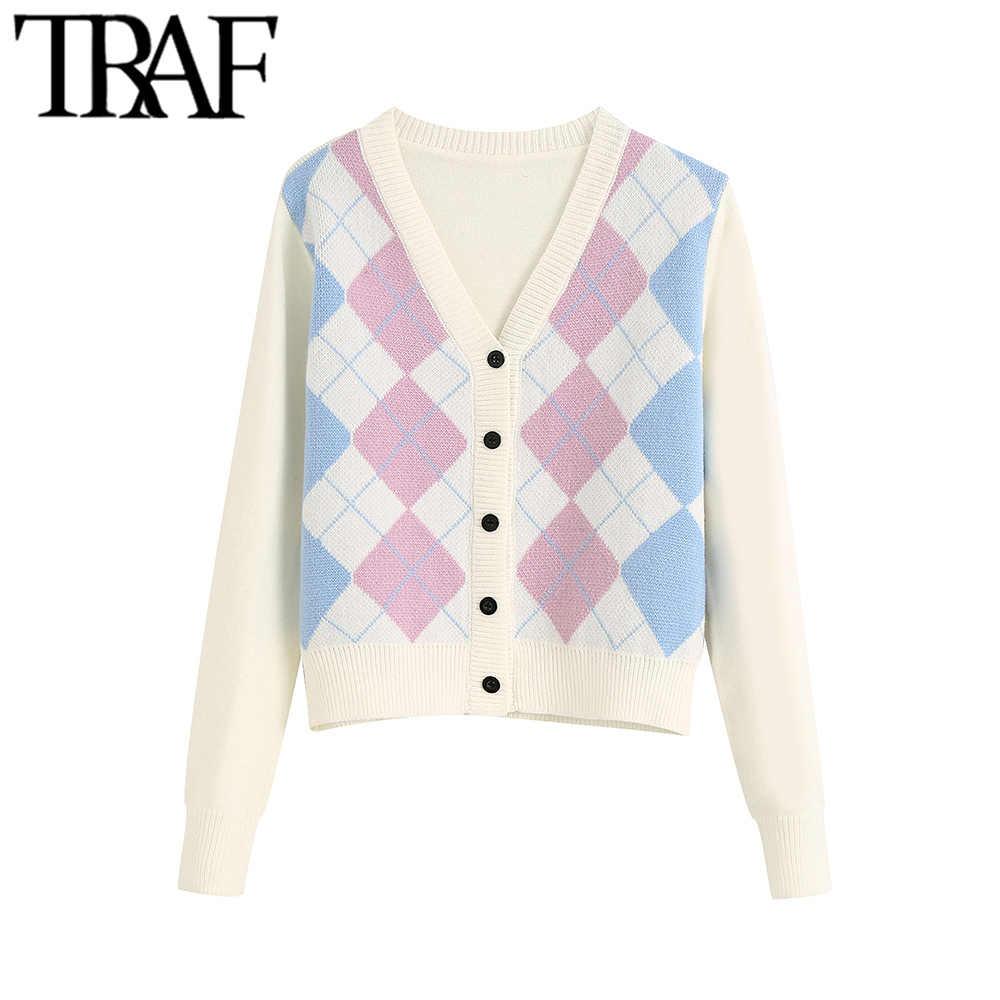 TRAF 여성 카디건 빈티지 세련된 기하학 무늬 짧은 니트 스웨터 패션 긴 소매 영국 스타일 겉옷 Chaqueta
