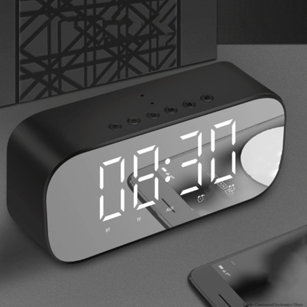 Bluetooth Speaker with FM Radio LED Mirror Alarm Clock Subwoofer Music Player Desktop Clock Wireless in Portable Speakers from Consumer Electronics