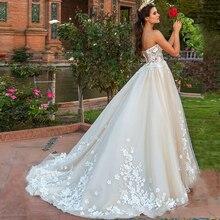 Очаровательное свадебное платье трапециевидной формы без рукавов с 3d-цветами и вырезом в виде сердца; кружевное свадебное платье с аппликацией на шнуровке со шлейфом