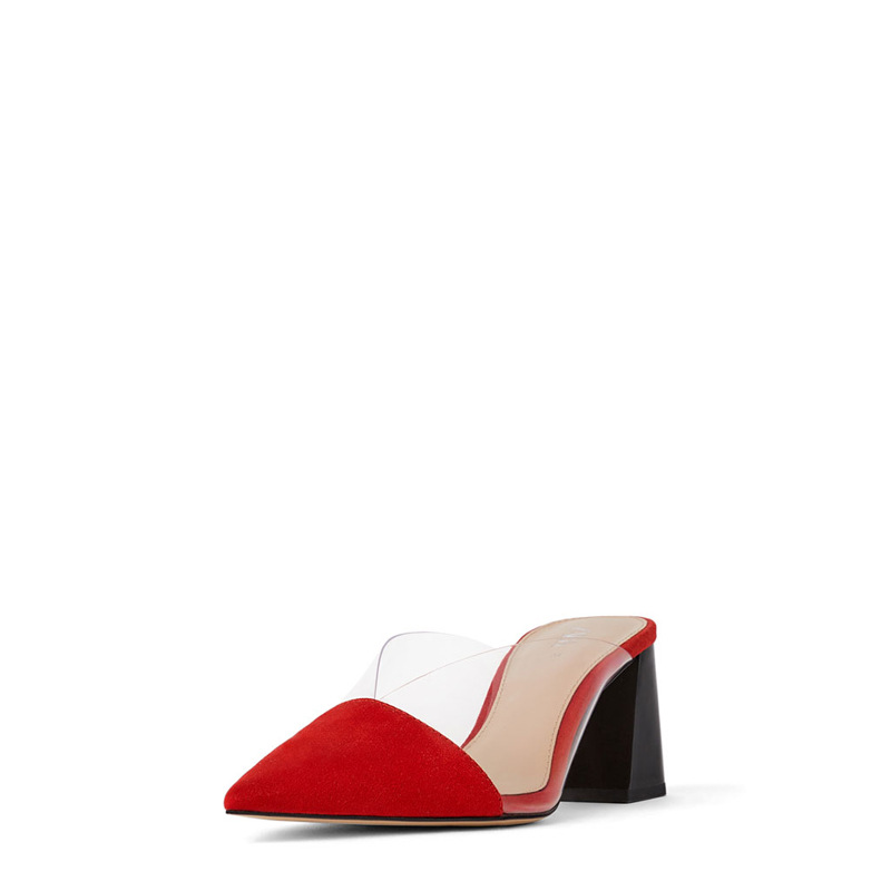 LMCAVASUN/размеры 34-40; женские шлепанцы; Летняя женская обувь из флока с острым носком без застежки; шлепанцы на высоком каблуке 7 см