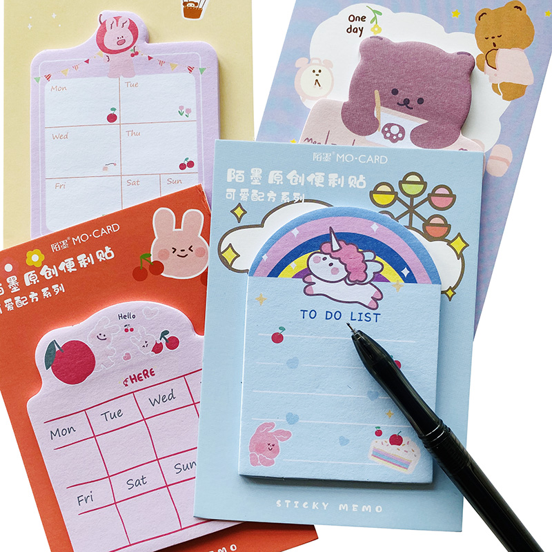30 Pages Cartoon Rainbow Unicorn Bear Rabbit Cherry Memo Pad Sticky Notes Weekly Planner School Office Supply Student Stationery