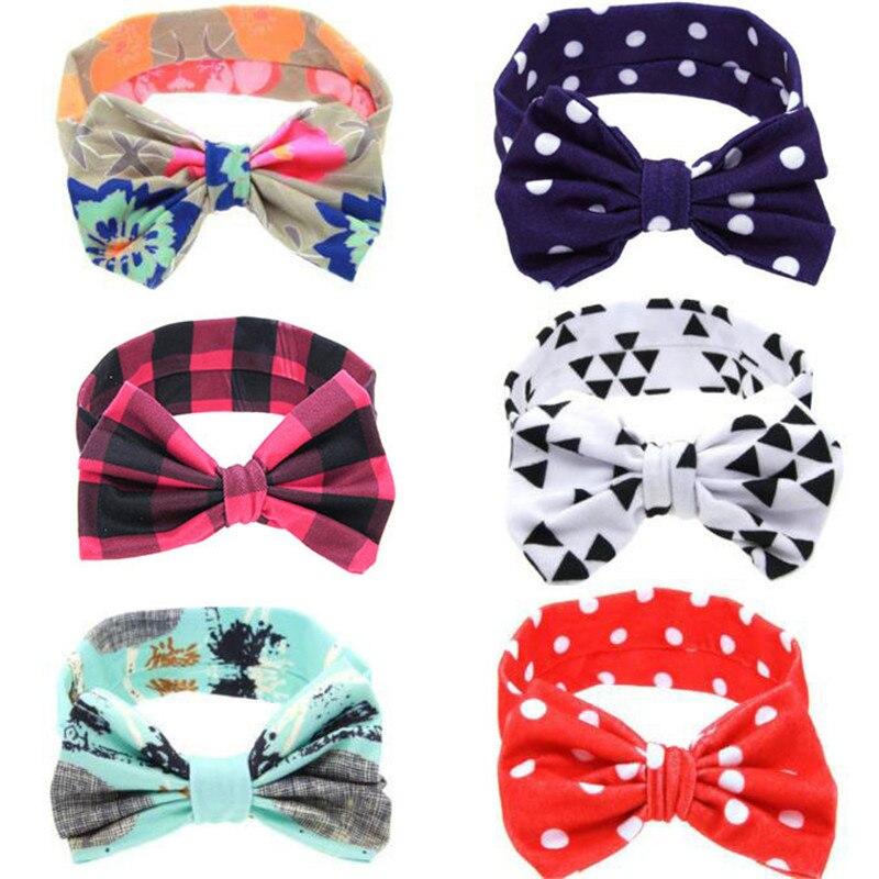 2020 Hot Selling New Fashion Hair Bands Headband Kids Hair Accessories Baby Cute DIY Rabbit Ears Elastic Cloth Bowknot Headband