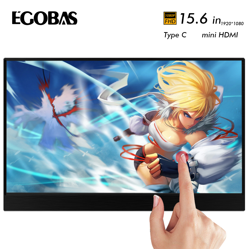 15.6 Inch Portable Monitor Touchscreen 1080p Hdr Ips Gaming Monitor With Usb C Typec Mini Hdmi For Phone Laptop Pc Mac Xbox Ps4
