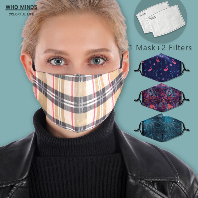 Plaid Reusable Mouth Mask Washable British Style Face Mask With Filter Mask Adjustable Cotton Windproof Mouth-muffle Flu Mask