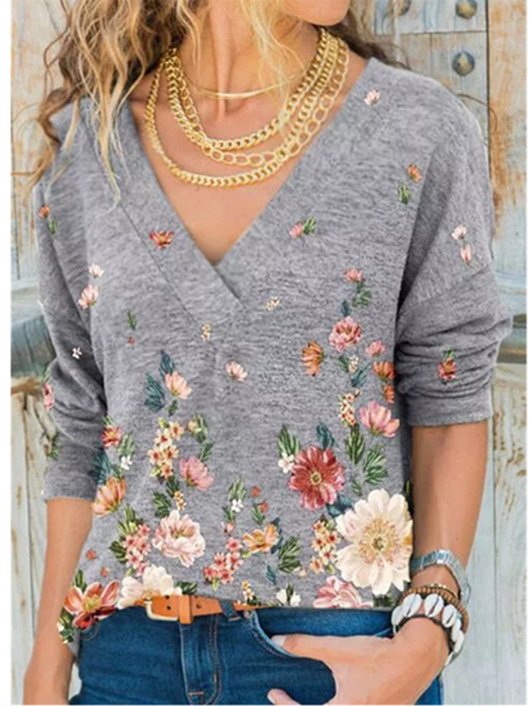 Loose T-Shirt Women's Clothing V-Neck Flower-Print Snake Autumn Winter Plus-Size Casual