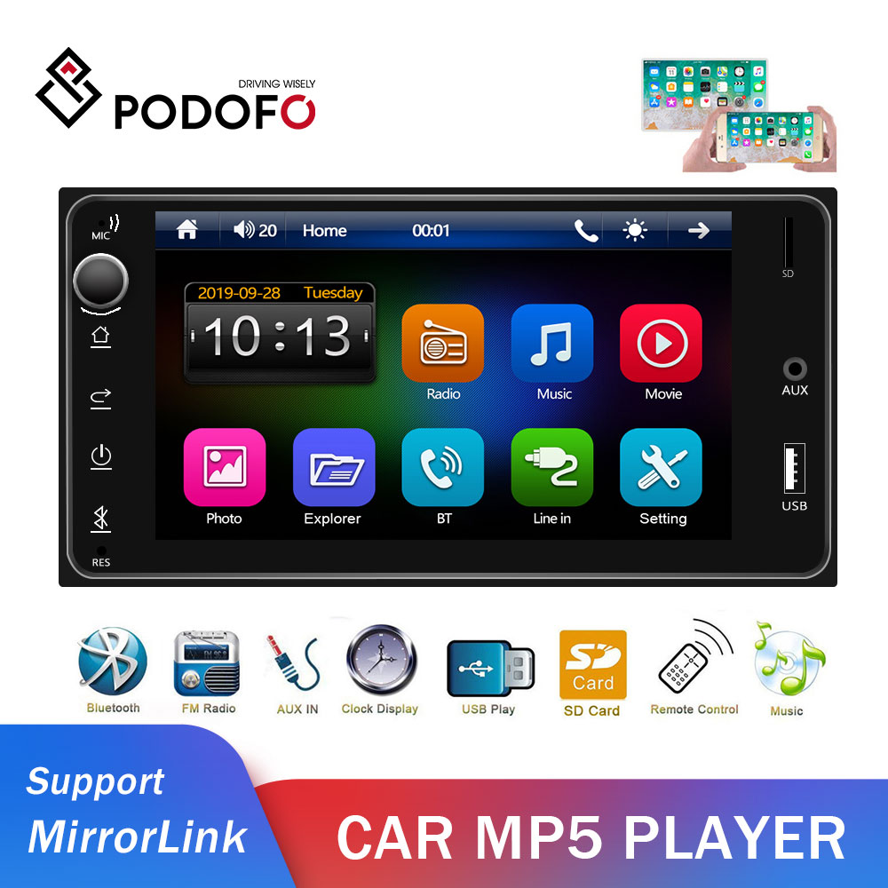 Podofo 2din Car Radio For Toyota Corolla 2 Din Car Multimedia Player Android/IOS MirrorLink Bluetooth 7
