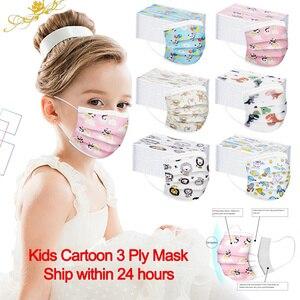 50/100 шт, детский шарф с мультипликационным принтом, одноразовый, 3 слоя, безопасный, расплавленный, Facemaskee, для мальчиков и девочек, Mascarilla