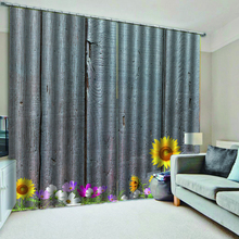 High quality custom 3d curtain fabric Wooden board sunflower colored flowers Beautiful Photo Fashion 3D Curtains