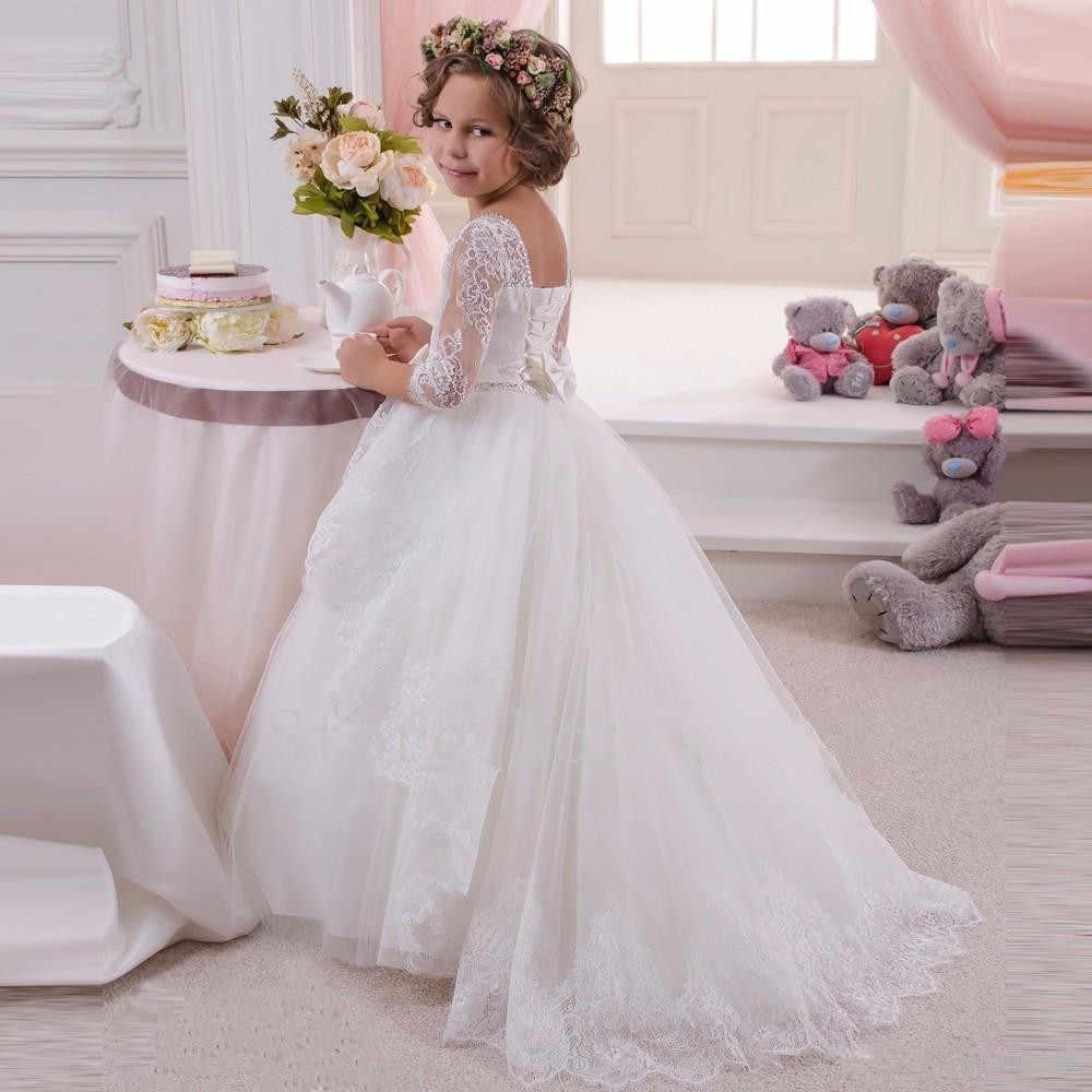 Flower Girl Dresses Pageant 3/4 Sleeve Ball Gown Kids Lace Princess Gown Wedding Party Birthday Girls Dresses