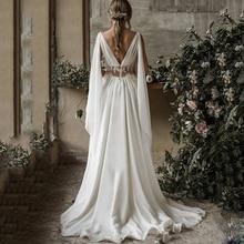 2019 Boho Beach Wedding Dresses A Line V Neck Sleeveless Sweep Train Bridal Gowns Applique Chiffon Backless Plus Size