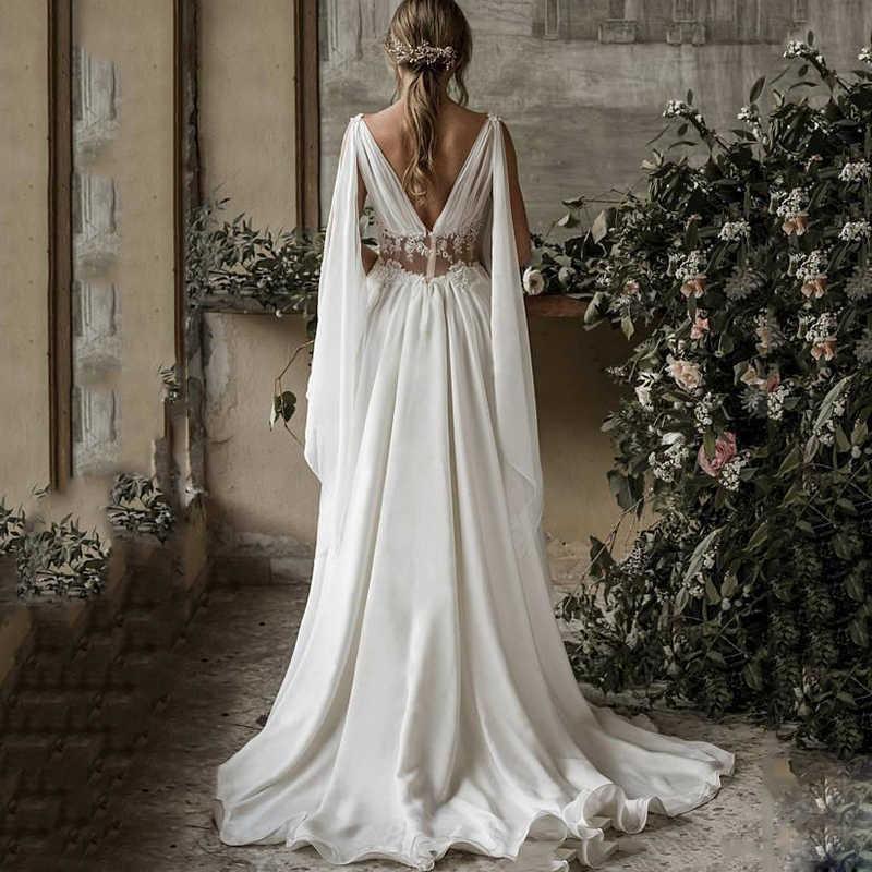 2019 Boho חוף חתונת שמלות קו V צוואר שרוולים לטאטא רכבת שמלות כלה Applique שיפון ללא משענת בתוספת גודל