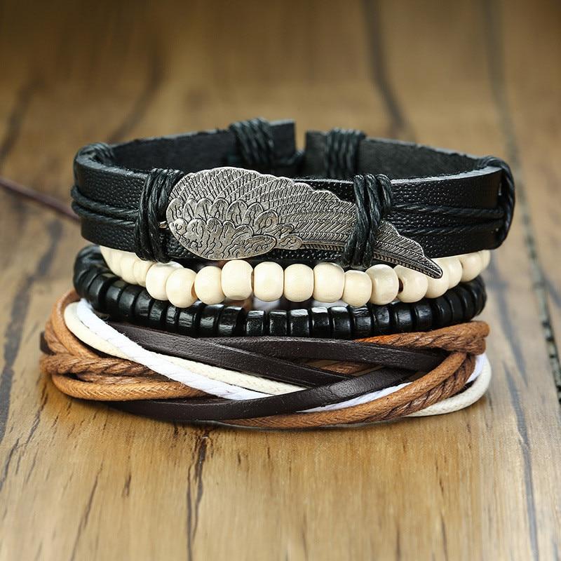 ZORCVENS Braided Leather Wrap Bracelets for Men Women Vintage Angel Wings Wood Beads Charm Bracelet Bangle