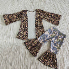 Baby girls leopard print cardigan top bell bottoms pants camo design ready to ship kids children boutique hotsale clothing sets