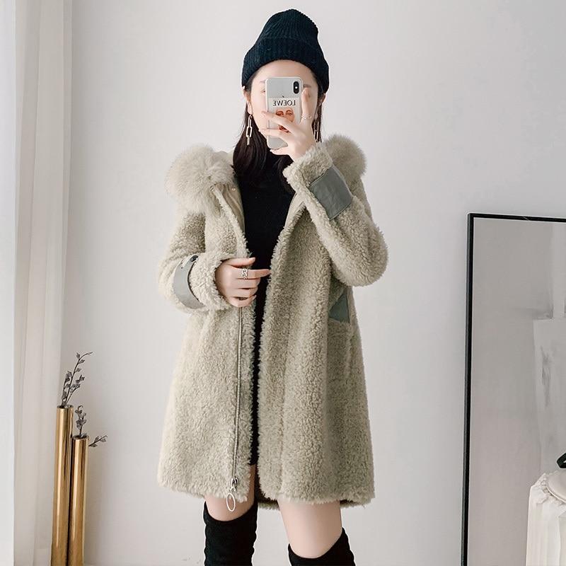 Real Fur Coat Women Winter Coat Women Clothes 2020 100% Wool Jacket Fox Fur Collar Parka Real Fur Jacket B9R1822 YY2382