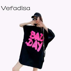 Vefadisa/Новинка 2020 года; Летняя футболка; Футболка с короткими рукавами для девочек; Однотонная футболка с принтом алфавита; Свободная футболк...