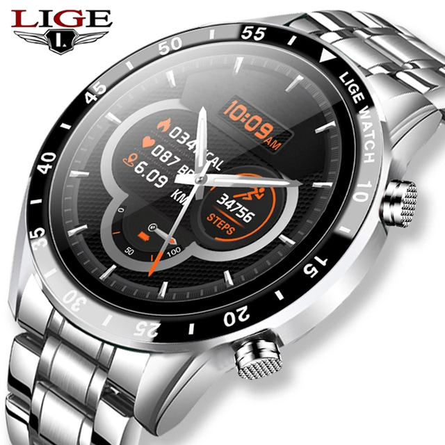 LIGE Fashion Full Circle Touch Screen Mens Smart Watch Waterproof Sport Fitness Watch Luxury Bluetooth Phone Smart Watch For Men
