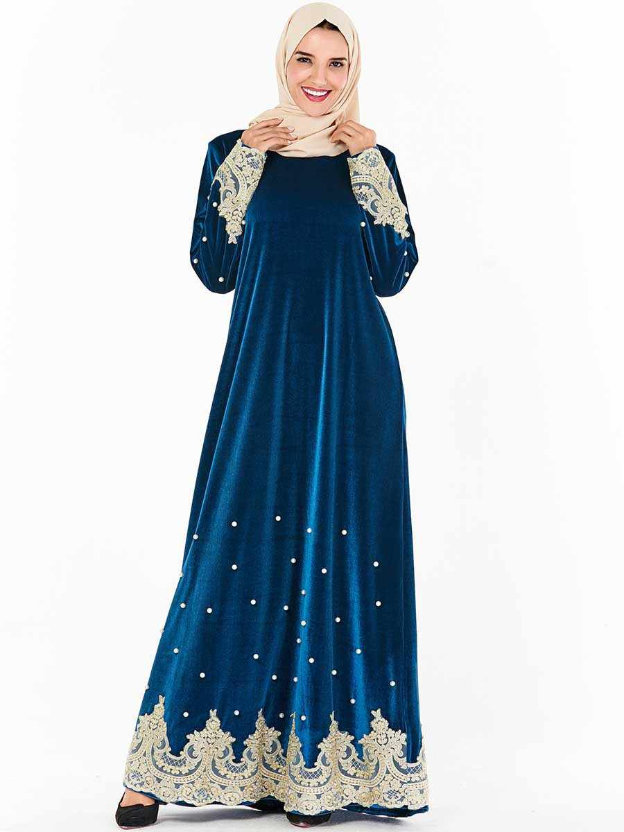Womens Muslim Embroidery Kaftan Velvet Islamic Arab Jilbab Abaya Long Maxi Dress