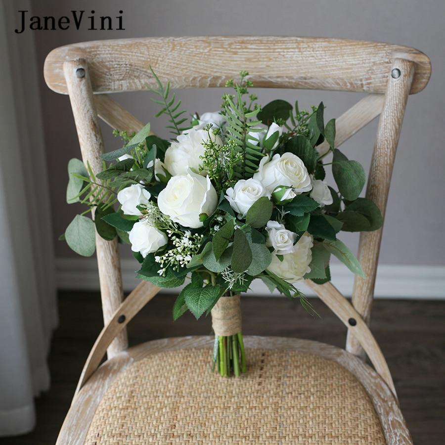 JaneVini Vintage White Green Bridal Silk Bouquet Bloemen Bruiloft Aftificial Wedding Flowers Boho Bridesmaid Flower Bouquet 2019