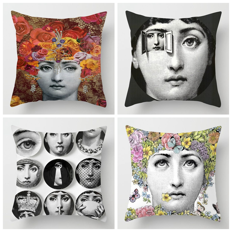 ZENGIA Retro Fornasetti Cushion Cover Art Master Pillow Cover For Home/Living Room Decoration Decorative Pillows Case Zara*women