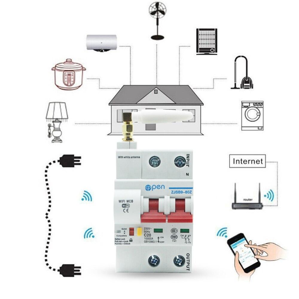 Image 3 - Открытый 2P 20A пульт дистанционного управления Wifi автоматический выключатель/умный переключатель/интеллектуальный автоматический повторитель перегрузки защита от короткого замыкания-in Управление умным домом from Товары для дома
