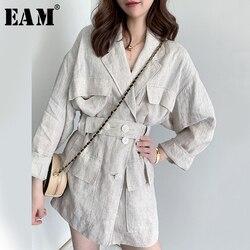 [EAM] Свободная льняная куртка большого размера с пуговицами, новая женская куртка с отворотом и длинным рукавом, модная весенняя куртка 2020 ...