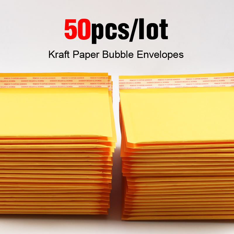 50pcs/lot Kraft Bubble Mailer Poly Shipping Envelopes With Bubble Shipping Bags Mailer Mailing Bags Padded Envelopes Packaging