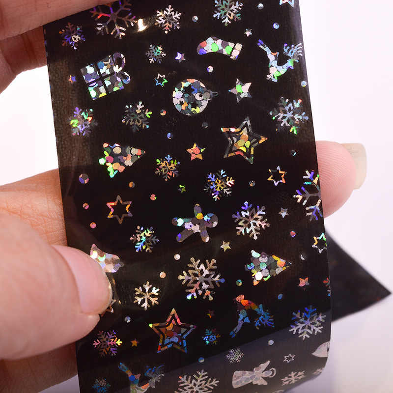 Nail sticker 100x4cm Xmas Pattern for Nail Sticker 3D Snowflake Star Laser Glitter Christmas Nail Art Transfer Foils Nail Art