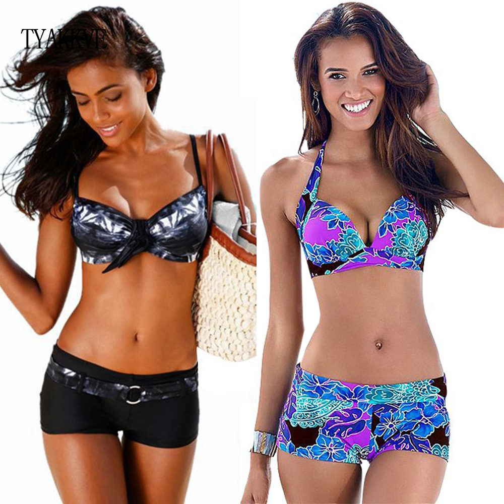Bikini 2020 Sexy Push Up Two Piece Swimsuits Plus Size Swimwear Women Brazilian Bathing Suit Shorts Sport Swimming Suit Tankini