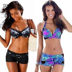 Image 1 - Bikini 2020 Sexy Push Up Two Piece Swimsuits Plus Size Swimwear Women Brazilian Bathing Suit Shorts Sport Swimming Suit Tankini