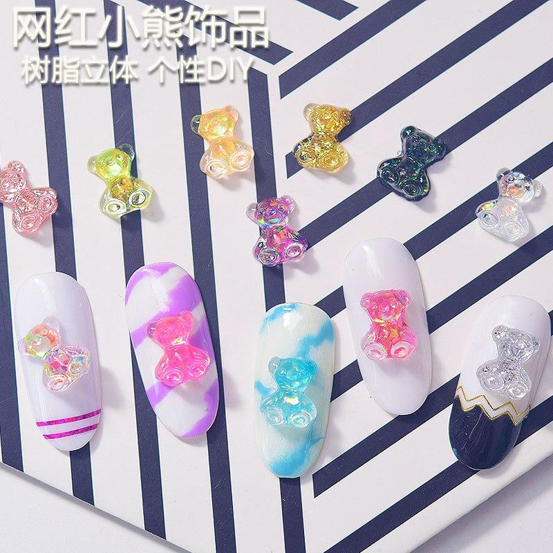 50pcs/lot 3D Cartoon Resin Bear Nail Art Decoration Nails Rhinestone Accessories Crystal Glass Gem Manicure Charms QC109-1354345