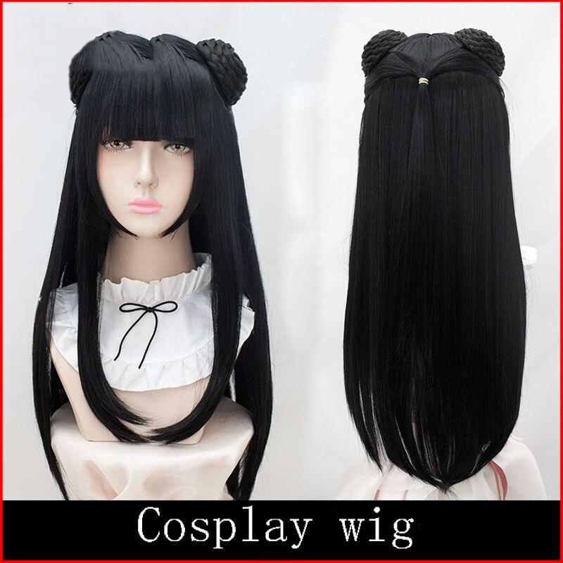 LVHAN Jiangyanli Cosplay wig Long straight black hair Median scalp High quality high temperature fiber