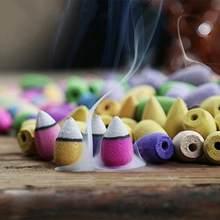 Cones de incenso para acessórios torre backflow colorido forma de bala natural sândalo chá agarwood sândalo aromaterapia