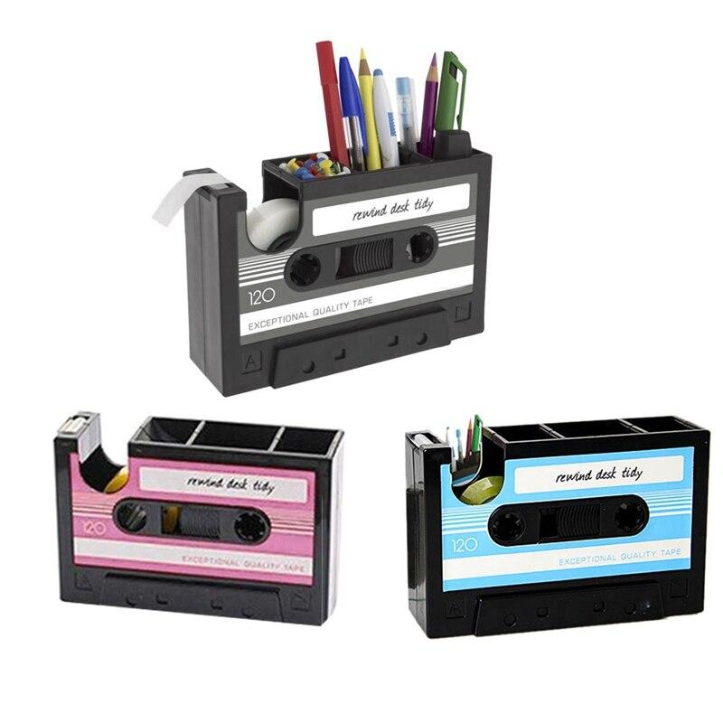 Creative Adhesive Tape Pen Holder Case, Retro Cassette Tape Dispenser Vase Brush Pot, Popular Pencil Desk Collection Tidy Organi