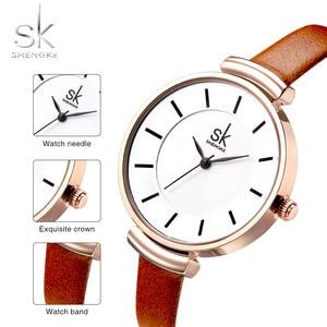 Image 4 - Shengke革ストラップ女性の腕時計カジュアル薄型バンドクォーツ腕時計女性レロジオfemininoレディースヴィンテージ腕時計
