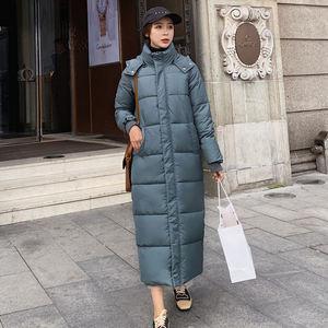 Image 4 - Kobiet dół bawełny kurtka zimowa płaszcz Super długie parki z kapturem studenci luźne kobiet kurtka ciepłe kurtki zimowe płaszcze C5872