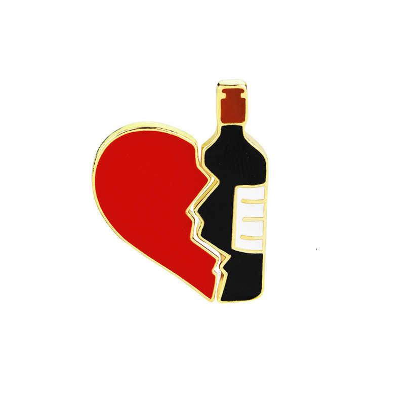 2 Pcs Heart And Wine Bottle Brooch Best Friend Girlfriend