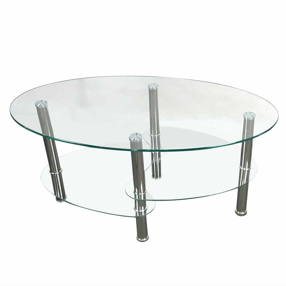 - Dual Fishtail Style Glass Table Oval Coffee Table Center Tea Table