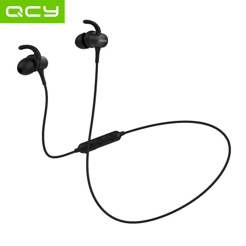 QCY M1S, auriculares magnéticos V4.2 con chip Bluetooth, IPX5-rated, auriculares inalámbricos a prueba de sudor, ganchos para los oídos deportivos, auriculares con micrófono