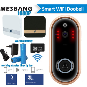 New 1080P wifi video doorbell wireless battery door phone Camera intercom door bell calling with TF card chime free shipping цена 2017