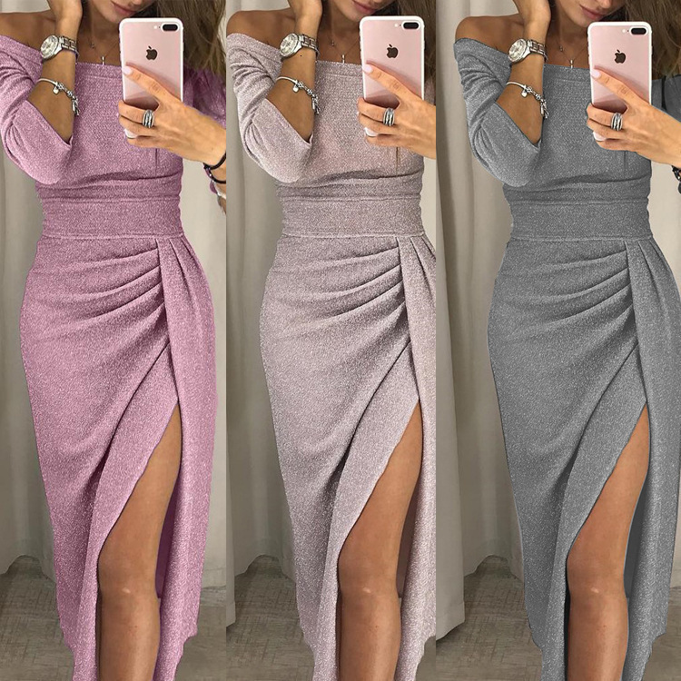 BacklakeGirls Ever Pretty Elegant Sequined Cocktail Dresses Sexy Boat Neck Off Shoulder Long Sleeve Party Gowns Robe De Cocktail