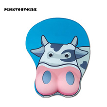 Anime cute animal mousepad dairy cattle 3D Mouse Pad Ergonomic Soft Silicon Gel Gaming Mousepad with Wrist Support Mouse Mat anime 3d mouse pad ergonomic soft silicon gel gaming mousepad with wrist support cute cat mouse mat for girls 10 2x8 5