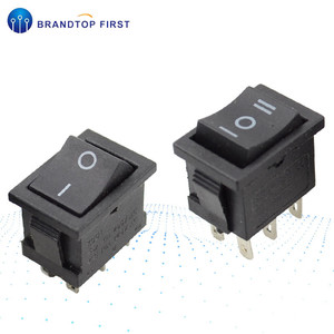 AC 6A/250V 10A/125V 6 Pin 21*15 mm 2 Position 3Position Boat Rocker Switch on off Switch KCD1 Black 21x15mm(China)