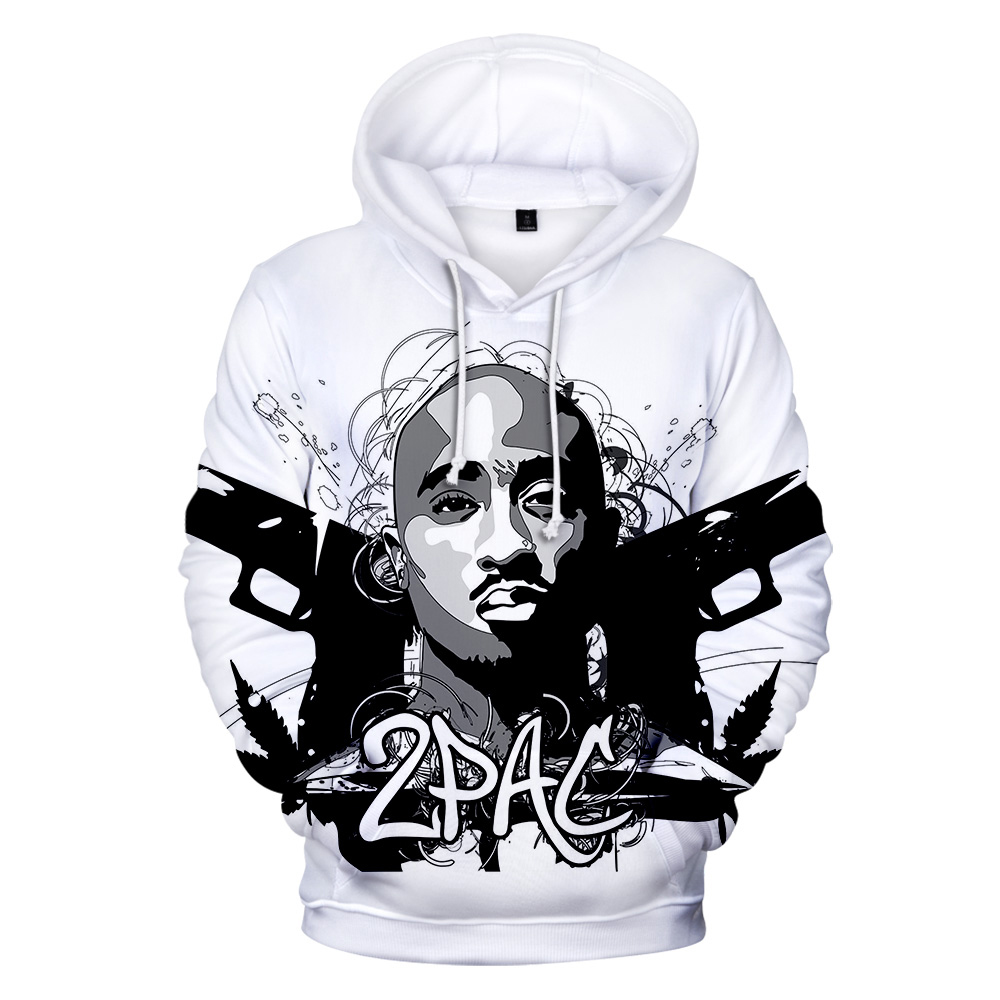 Hip Hop <font><b>Gangsta</b></font> Rap 2Pac Hoodies Mens Sweatshirt Hoodie Men/Women 2Pac Tupac High Quality Hoody Polluver Winter Cap Clothing image